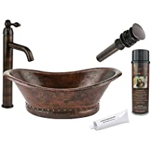 Premier Copper Products BSP1_VBT20DB Bath Tub Vessel Hammered Copper Sink with Single Handle Vessel Faucet, Oil Rubbed Bronze
