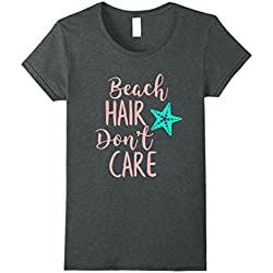 Womens Beach Hair Don't Care Summer Vacation Life T-Shirt XL Dark Heather