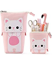 JFTOU Transformers Station Pen Holder Canvas PU Cartoon Cute Cat Retractable Pencil Storage Bag Stationery Pen Case with Zipper Opening and Closing 7.5x4.9x3.0inch/4.1x3.0inch (Pink Cat)