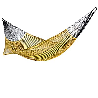 Hammock Woven Silk Thread Handmade in Venezuela Authentic Craftsmen-Washable, Special The Outside, Unique Pieces - hammock handmade in Venezuela color: Yellow, Length: 11.10 ft Aprox. X Width:7 ft. Weight Capacity: 300 lbs. Hammock is Weather Resistant and washable in washing machine - patio-furniture, patio, hammocks - 41tujynIp L. SS400  -