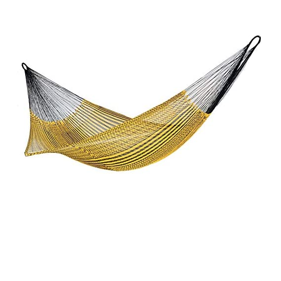 Ingalex Hammock Woven Silk Thread Handmade in Venezuela Authentic Craftsmen-Washable, Special The Outside, Unique Pieces - hammock handmade in Venezuela color: Yellow, Length: 11.10 ft Aprox. X Width:7 ft. Weight Capacity: 300 lbs. Hammock is Weather Resistant and washable in washing machine - patio-furniture, patio, hammocks - 41tujynIp L. SS570  -