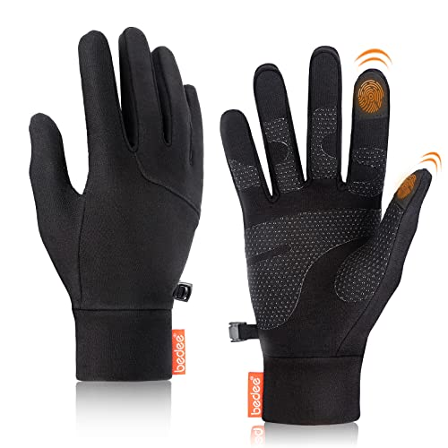 bedee Running Gloves, ThermalGloves, 2 Pcs Touchscreen Gloves Elastic Fabric Non-slip WinterCyclingGloves Black for Men Women Running Driving Cycling Climbing Hiking Skiing.(A Pair + Black L)