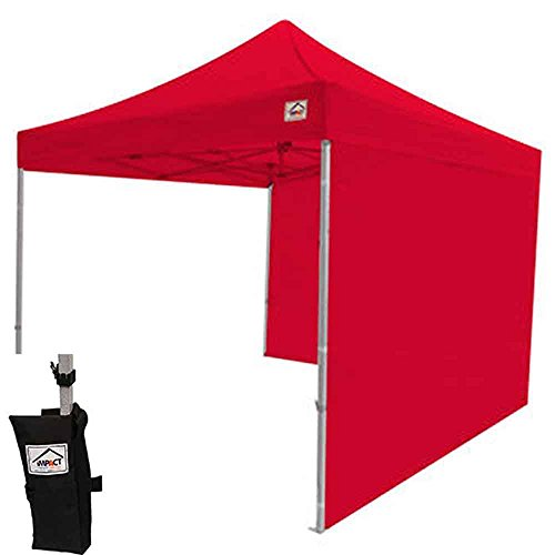 Frame 10ft Aluminum (Impact Canopy 10x10 Instant Pop Up Canopy Tent, Aluminum Frame, Sidewalls, 4 Weight Bags, Roller Bag, Red)
