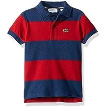 Lacoste Boy Short Sleeve Bicolor Striped Pique Polo
