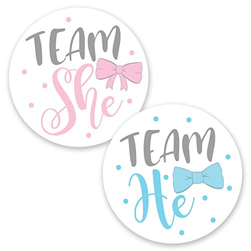 "2"" Gender Reveal Team He Team She Stickers (80 Pack) - Baby Shower - Bow or Bow -"