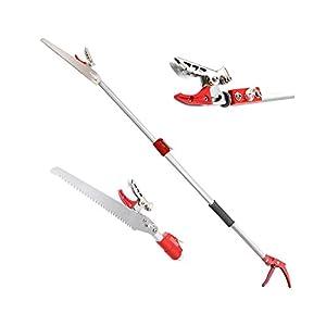 DCM 6.5-13 Feet Telescoping Cut and Hold Long Reach Bypass Garden Pruner, Pole Saw, Extendable saw, Fruit Picker Harvester, Gardening Shear (4 Meter)