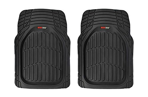 (Motor Trend Tortoise Series Rubber Floor Mats Front Seat Protection Rubber Mat (2PC Black))