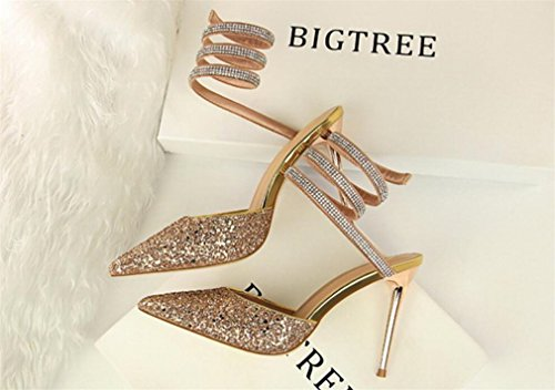 Sandals Sandals Heels Bride Modern Gold Dress Satin Dating Shoes Stiletto Office Court Heels Blink High High Wedding Fashion Women Shoes Party Heels Pumps vqxO5O