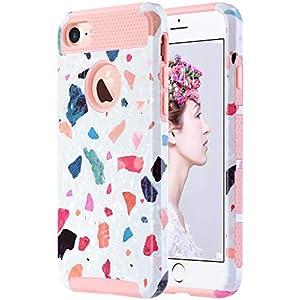ULAK iPhone 7 Case Marble, Stylish Designed Slim Fit Hybrid Protective Hard Back Cover Shock Absorption TPU Bumper Girly…