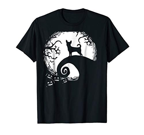 Funny Chihuahua And Moon Halloween Costume Gift T Shirt -