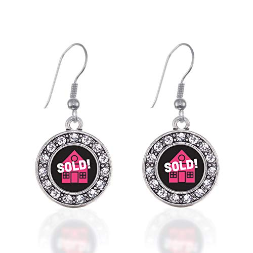 - Inspired Silver - Real Estate Agent Charm Earrings for Women - Silver Circle Charm French Hook Drop Earrings with Cubic Zirconia Jewelry