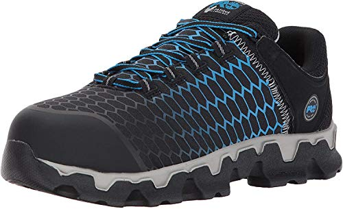 Timberland PRO Men's Powertrain Sport Alloy Toe EH Industrial & Construction Shoe, Black Ripstop Nylon with Blue, 12 W US