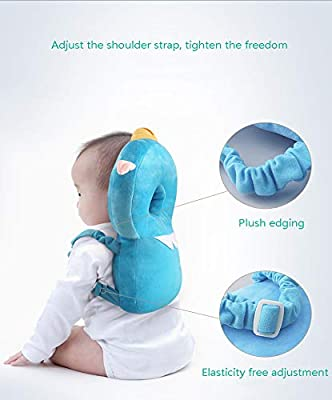 FLB Baby Toddler Head Protection Device Safety Suit Child headrest Shatter-Resistant Pillow Shatter-Resistant Head pad Soft Safety Blue Pig