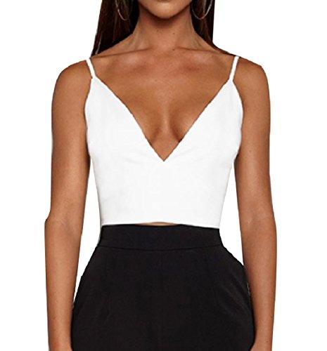 勝利外科医厳密にVITryst Women Pure Color Crop Backless Deep-V Neck Strappy Suspender Vest