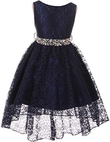 Big Girl Floral Lace Rhinestones Christmas Holiday Easter Flower Girl Dress Navy 8 MBK360