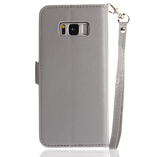 Galaxy S8 Plus Hülle,Galaxy S8 Plus Schutzhülle PU Leder,Galaxy S8 Plus Wallet Tasche Brieftasche Schutzhülle,Hpory Elegante Vintage Schmetterling Muster PU Leder Wallet Tasche Flip Cover Ledertasche  Schmetterling,dunkelgrau