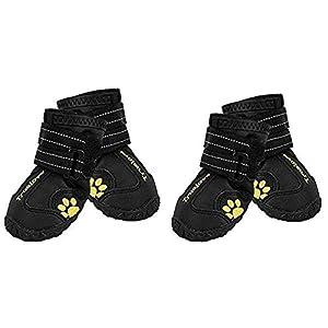 EXPAWLORER Waterproof Dog Boots Reflective Non Slip Pet Booties for Medium Large Dogs Black 4 Pcs 75