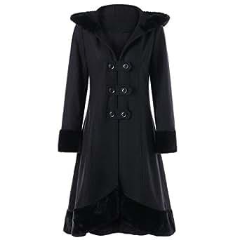Ausexy Women Aristocratic Bandage Behind Long Coat Jacket Fashion Warm Slim Skirt Thick Parka Overcoat Winter Plus Size Outwear (M)