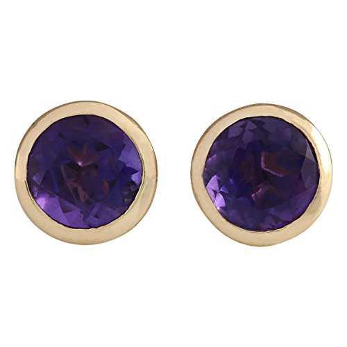 3 Carat Natural Violet Amethyst 18K Yellow Gold Solitaire Stud Earrings for Women Exclusively Handcrafted in USA