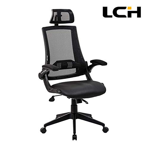LCH High Back Ergonomic Mesh Office Chair with Mesh Seat - Adjustable 90-110 Degree Tilt Lock, Flip-up Armrest, Lumbar Support and Headrest Computer Desk Task Chair, Black ... (Best Gaming Desk Chair 2019)