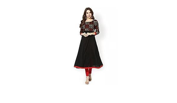 Indian Handicrfats Export AnjuShree Choice Womens Black Cotton Anarkali Kurti