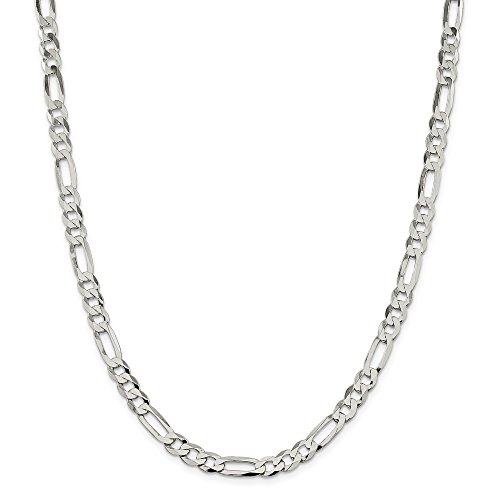 Sterling Silver 7.5mm Polished Flat Figaro Chain by JOlivers