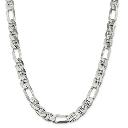 Lex & Lu Sterling Silver 10.65mm Figaro Anchor Chain Bracelet or Necklace (Figaro Anchor Bracelet Chain)