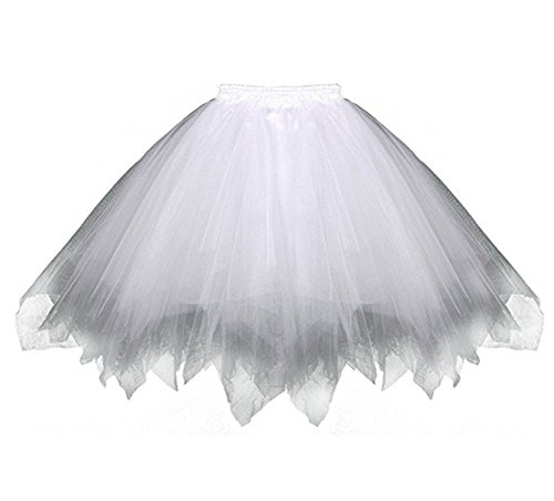 Kileyi Womens Tutu Costume Adult Party Dance Tulle Skirt Short Fluffy Petticoat White -