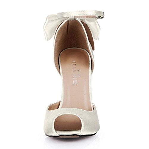 Best 4U® Sandali estivi da donna in finta seta con fiocco in punta 12 CM Tacchi alti in gomma con cerniera lampo da una fibbia scarpe bianche