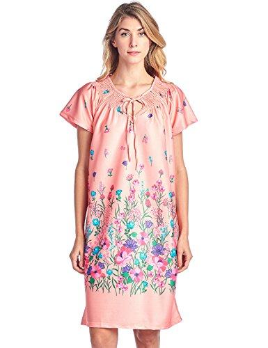 Casual Nights Women's Round Neck Mu-Mu Housecoat Lounger - Coral - - Mu Shop Orange