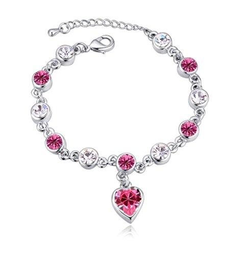 Tiffany Mini Heart Tags - Pink Swarovski Crystal Heart Silver Charm Bracelet