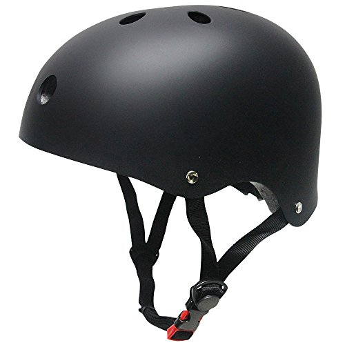 Helmet ABS Hard Rubber with Adjustment for Skateboard /Ski /Skating/Roller Snowboard Helmet Protective Gear Suitable Kids and Youth/Adults,( S-Black)