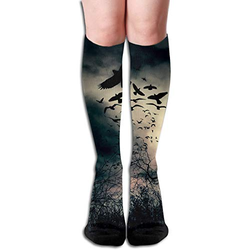 19.68 Inch Compression Socks Dusk Nightfall High Boots Stockings Long Hose For Yoga Walking For Women Man ()