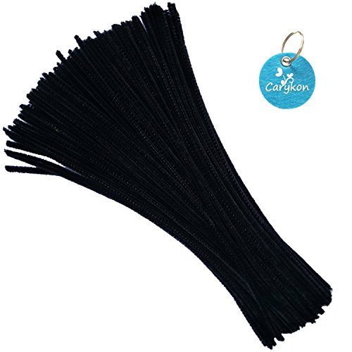 Carykon 100 Pieces Fuzzy Chenille Stems Pipe Cleaners for Arts and Crafts (Black)