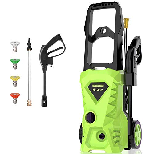 Homdox Pressure Washer 2500PSI 1.5GPM Electric Pressure Washer,for Cleaning Cars, Driveways,Garden, Patios,Power Washer with (4) Nozzle Adapter, Longer Cables and Hoses and Detergent Tank (Green)