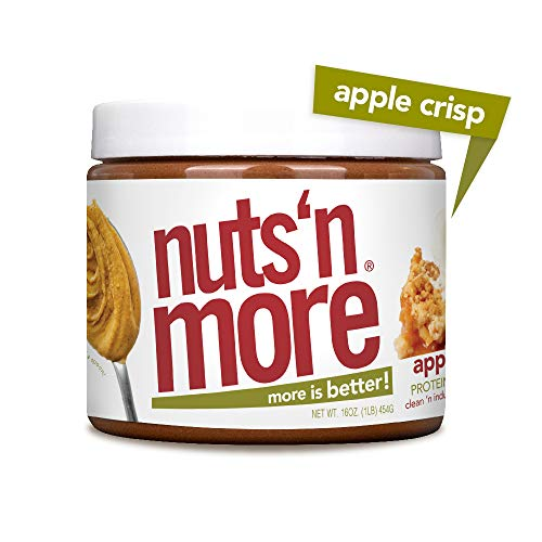 Nuts N More Apple Crisp Peanut Butter Spread, All Natural High Protein Nut Butter Healthy Snack, Omega 3s and Antioxidants, Low Carb, Low Sugar, Gluten-Free, Non-GMO, Preservative Free, 16 oz Jar