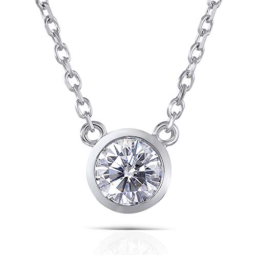 DovEggs Platinum Plated Silver 1ct 6.5mm H-I Color Heart Arrows Cut Moissanite Pendant Necklace Bezel Set Solitare With 925 Silver Chain for Women
