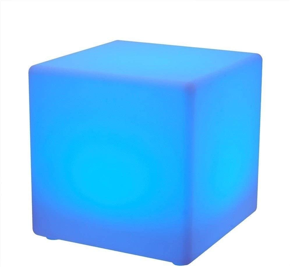 Paddia Light Up LED Mood Light USB Chargeable Powered Adjustable 16 RGB Colour and 4 Brightness Waterproof Indoor/Outdoor Led Cube Stool Home Decorative Night Light Garden Bar Furniture Seat