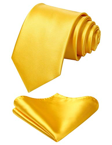 Mens Solid Yellow Tie Classic 3.4