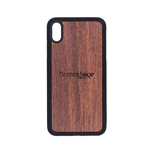 Logo Barber Shop - iPhone Xs MAX Case - Rosewood Premium Slim & Lightweight Traveler Wooden Protective Phone Case - Unique, Stylish & Eco-Friendly - Designed for iPhone Xs MAX (Best Barber Shop Logos)