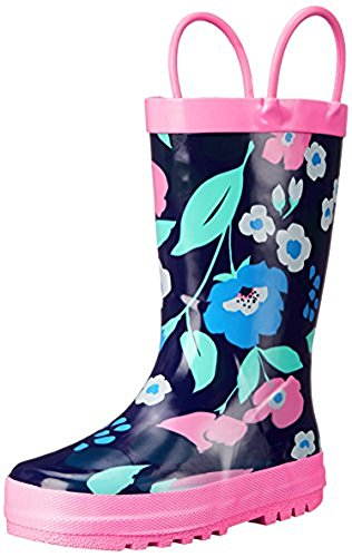 Carters Big Girls Floral Print Rain Boots Navy Pink
