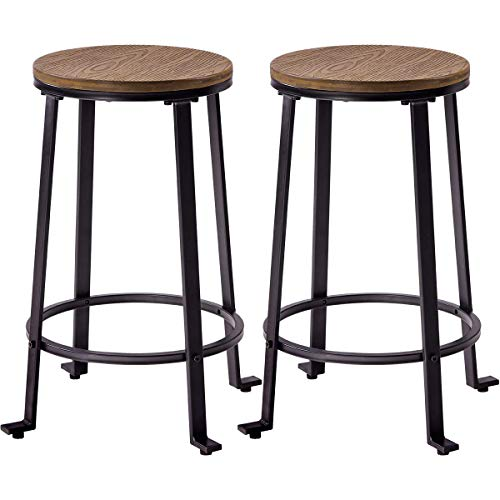 - Bar Stools Counter Height 24 inch,JULYFOX Pub Stools Set of 2 Backless Wood and Black Metal Combined Modern Round Dinning Chairs Set of 2 Heavy Duty for Kitchen Bars Pubs Office Indoor Outdoor Patio