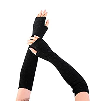 Lady Mittens, HHei_K Fashion Women Arm Warmer Solid Cashmere Knitted Soft Long Fingerless Gloves (Black, 458cm)