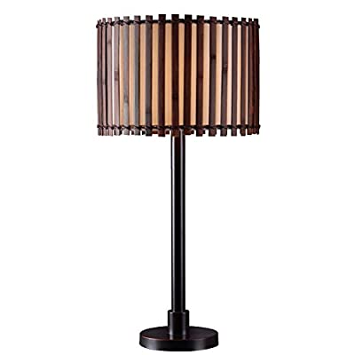 Kenroy Home 32279BRZ Grove Outdoor Table Lamp, Bronze Finish - Table lamp for home or office Stylish design complements any room Dark all-weather split bamboo shade - lamps, bedroom-decor, bedroom - 41tuqHOb8WL. SS400  -