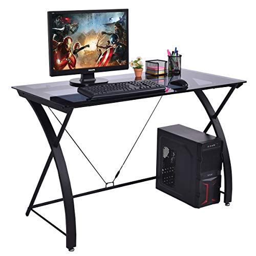 TANGKULA Computer Desk Writing Table Simple Home Office Computer Workstation with Tempered Glass Top & Iron Frame Student Writing Desk Home Furniture (Black) ()