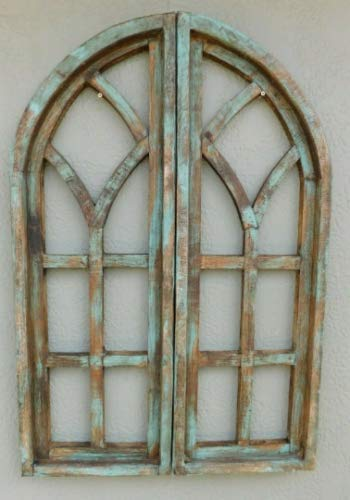 JumpingLight 2 Wooden Antique Style Church Window Frame Shutters Wood Gothic 36'', Shabby Green Cast Iron Decor for Vintage Industrial Home Accessory Decorative Gift