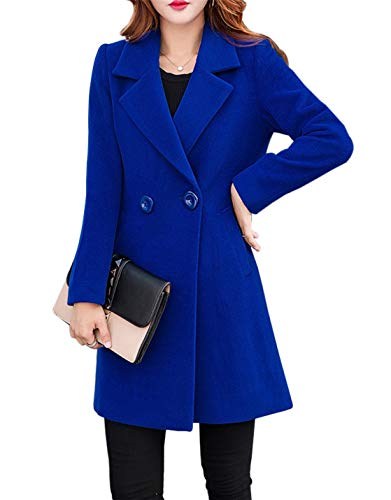 Double Breasted Lightweight Coat - Jenkoon Women's Winter Outdoor Double Breasted Cotton Blend Pea Coat Jacket (Blue, Medium)