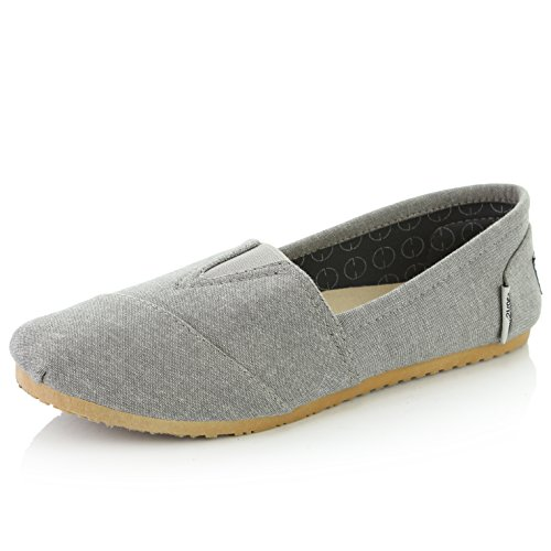 DailyShoes Women's Women Classic Flat Slip-On Comfort Loafer Sneaker Shoes with Raised Massage Surface Elastic Top Flats Shoe, Ash Grey Linen, 8 B(M) US by DailyShoes (Image #1)