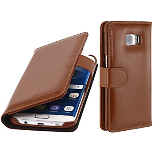 StilGut Talis, Genuine Leather Wallet Case, Cover for for Samsung Galaxy S7 edge, Cognac Brown Sales