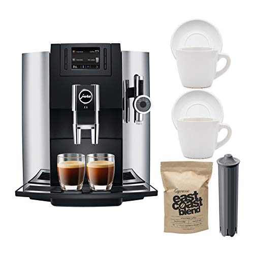 Jura E8 Automatic Coffee and Espresso Maker, Chrome Includes Jura Filter, 2 Espresso Cups and 1 LB Coffee Beans Bundle (Renewed) (5 Items)